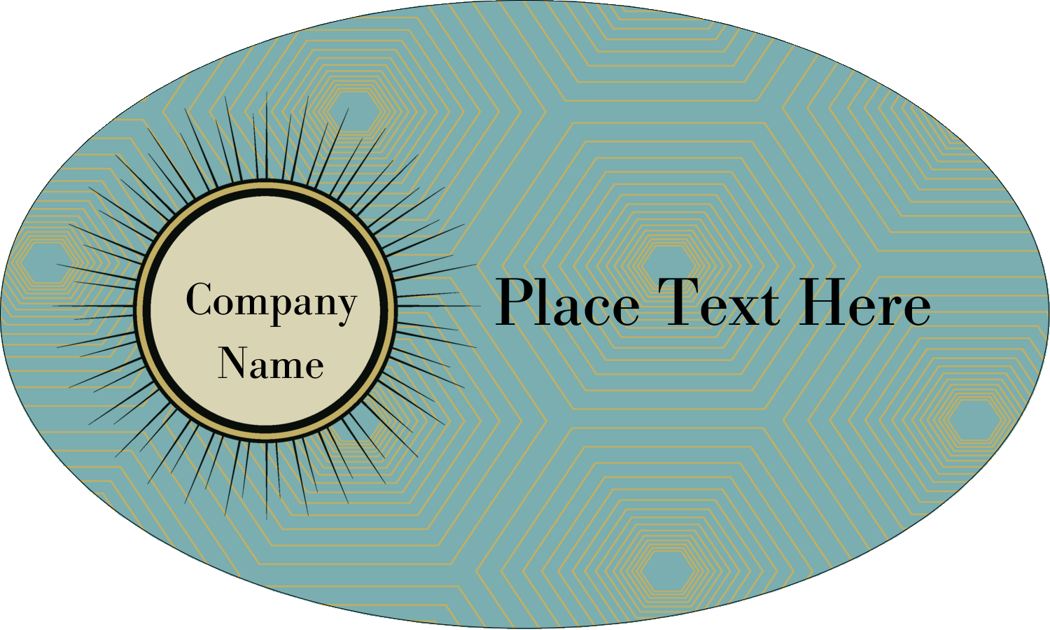 "1½"" x 2½"" Oval Glossy Label - Burst Tan"
