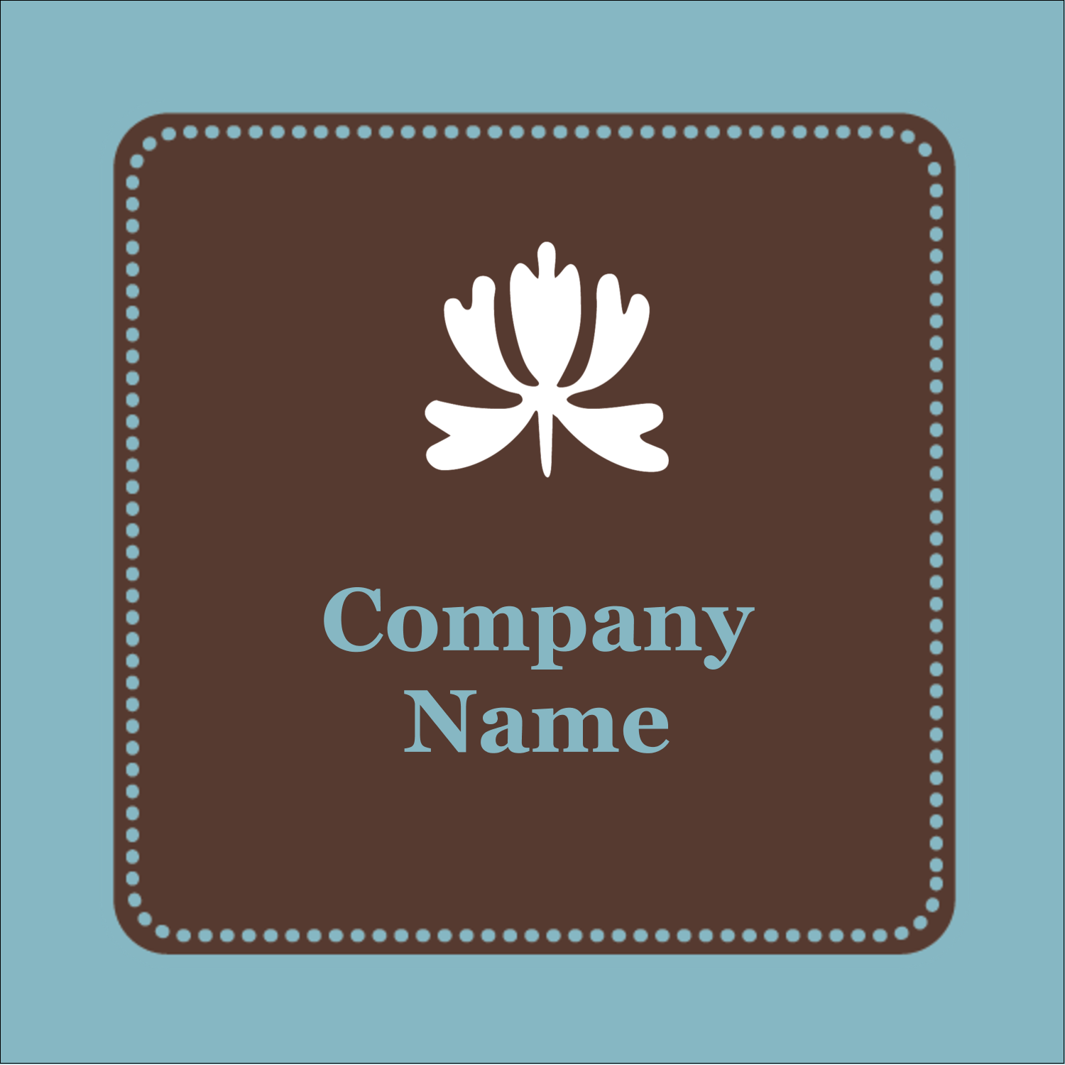 "1½"" x 1½"" Square Label - Blue Brown Border"
