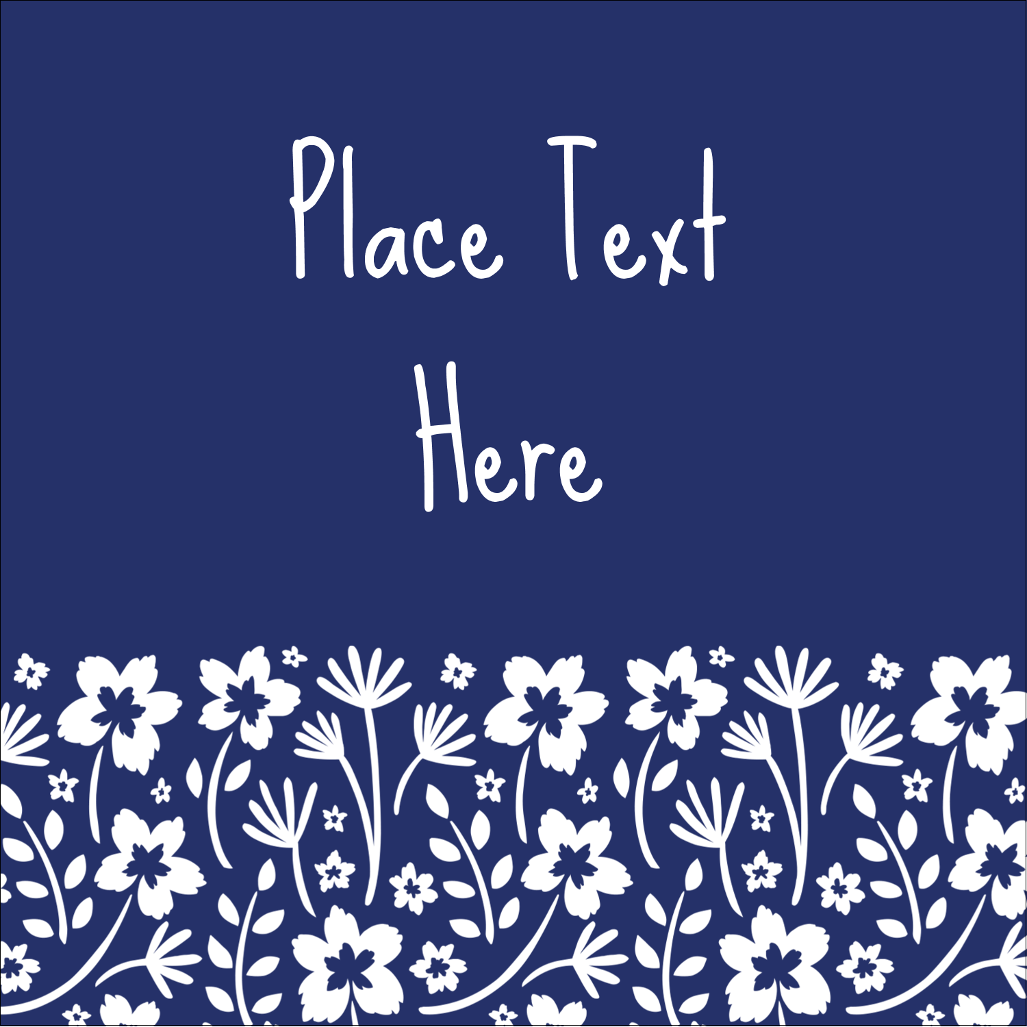 "1½"" x 1½"" Square Label - Small Floral Blue"