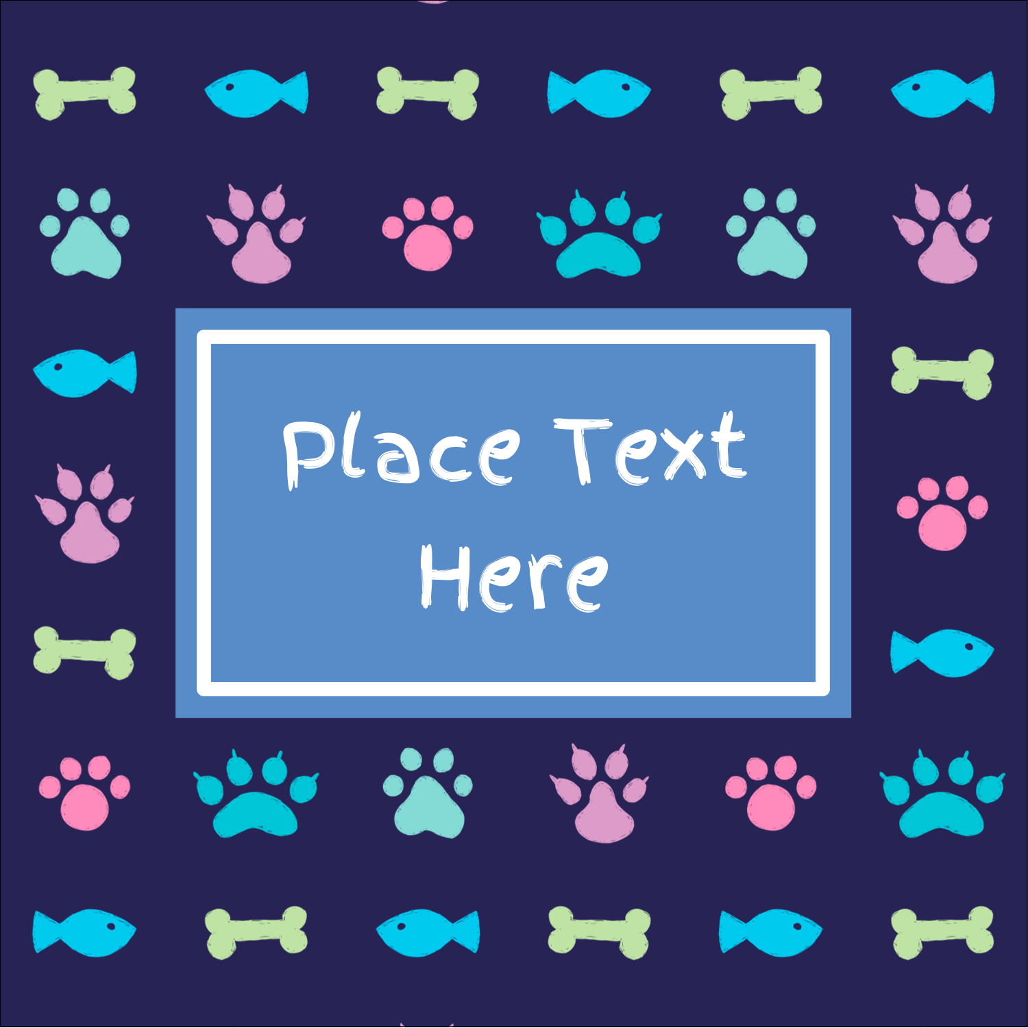 "1½"" x 1½"" Square Label - Furry Friends"