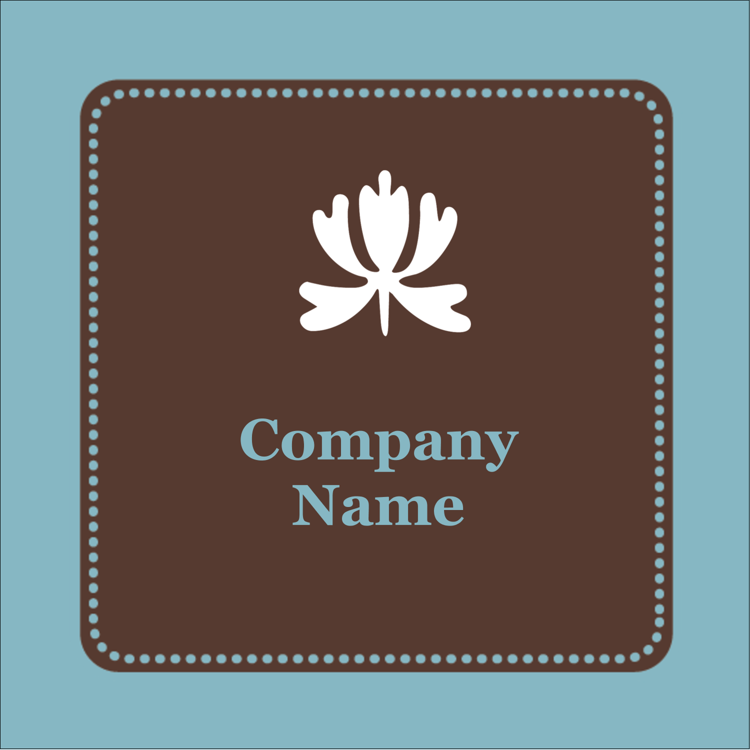 "2"" x 2"" Square Label - Blue Brown Border"