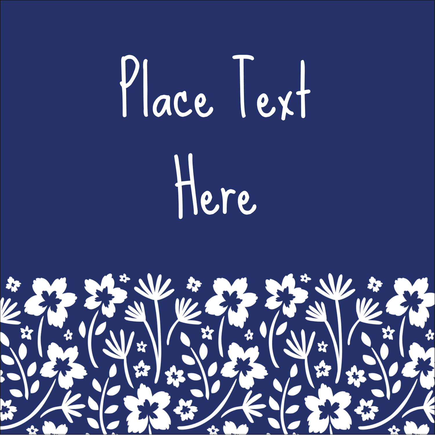 "2"" x 2"" Square Label - Small Floral Blue"