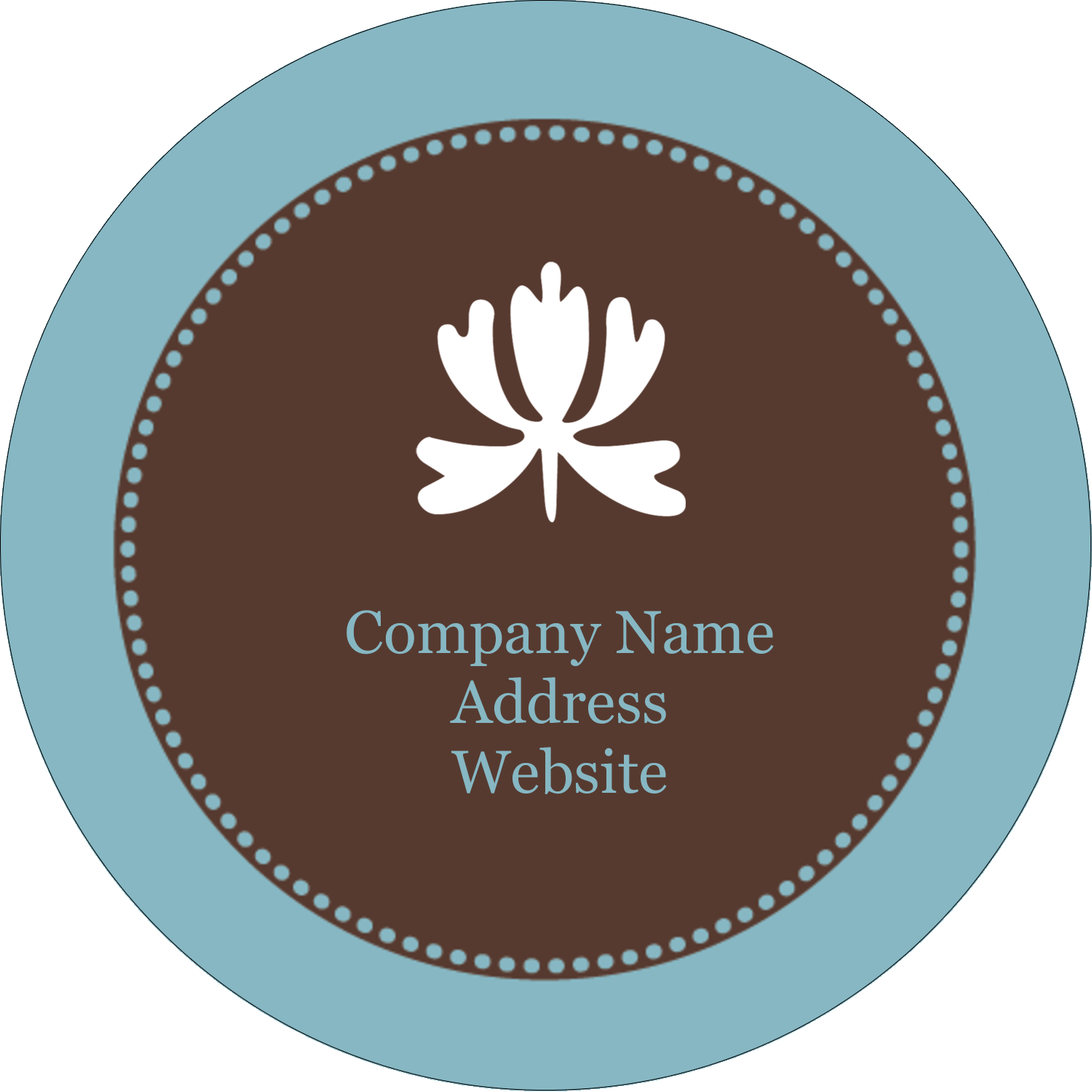 "2"" Round Label - Blue Brown Border"