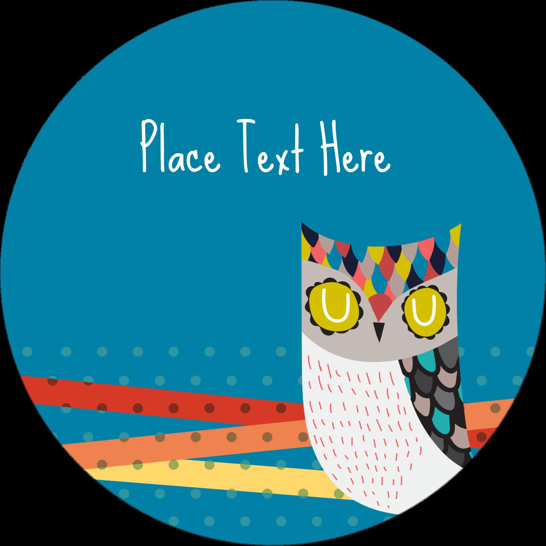 """2"""" Round Label - Artful Owl"""
