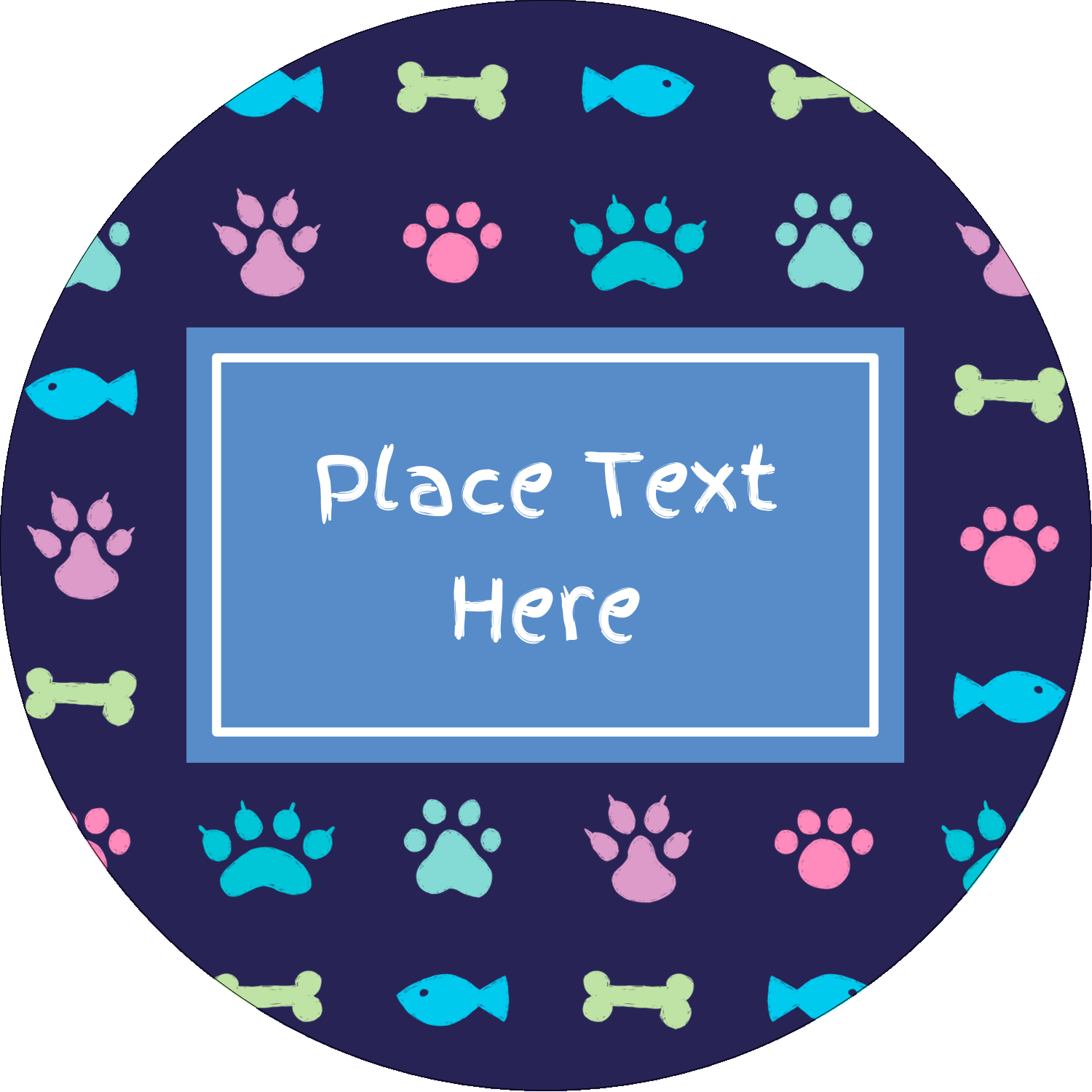 "2½"" Round Label - Furry Friends"
