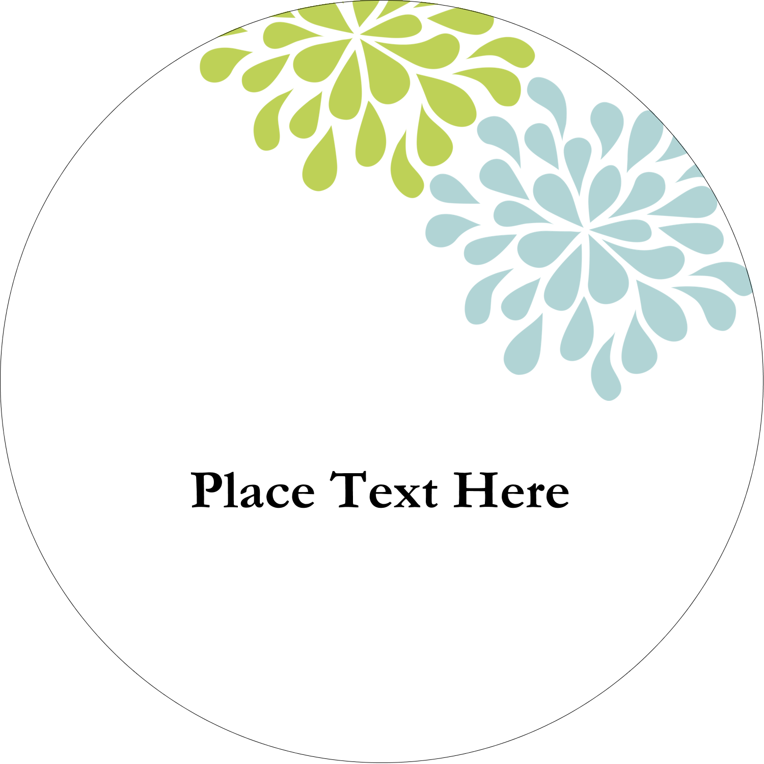 "2½"" Round Label - Blue Green Blooms"