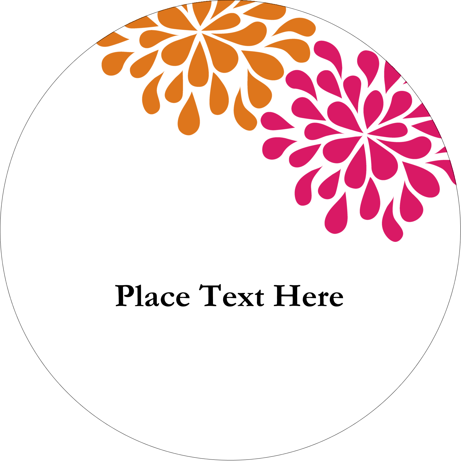 "2½"" Round Label - Bridal Shower Pink Orange"