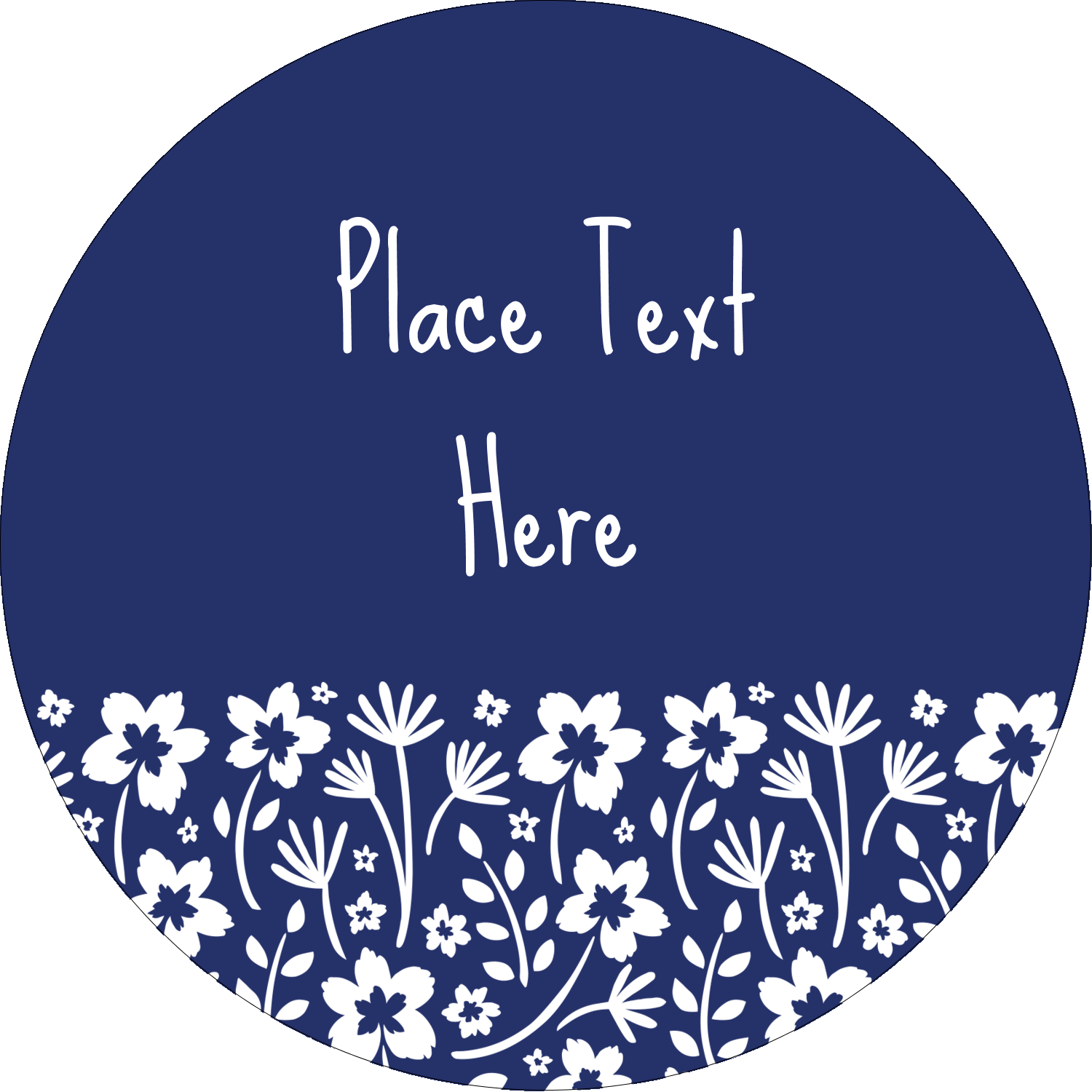 "2½"" Round Label - Small Floral Blue"