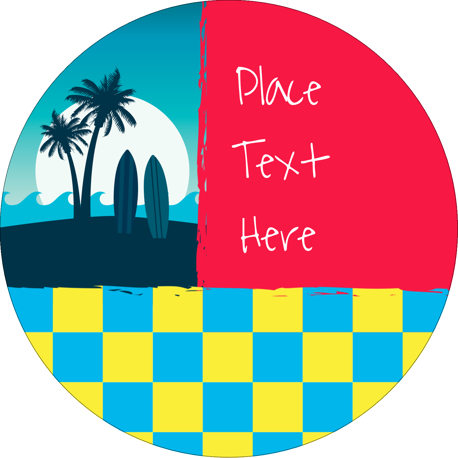 "2½"" Round Label - Tropical Surf"