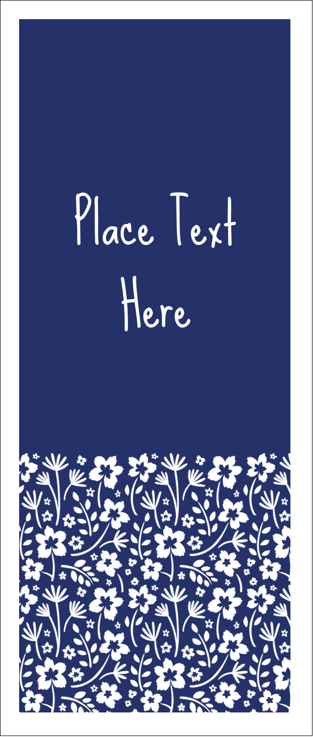 "1¾"" x 5½"" Printable Tickets - Small Floral Blue"