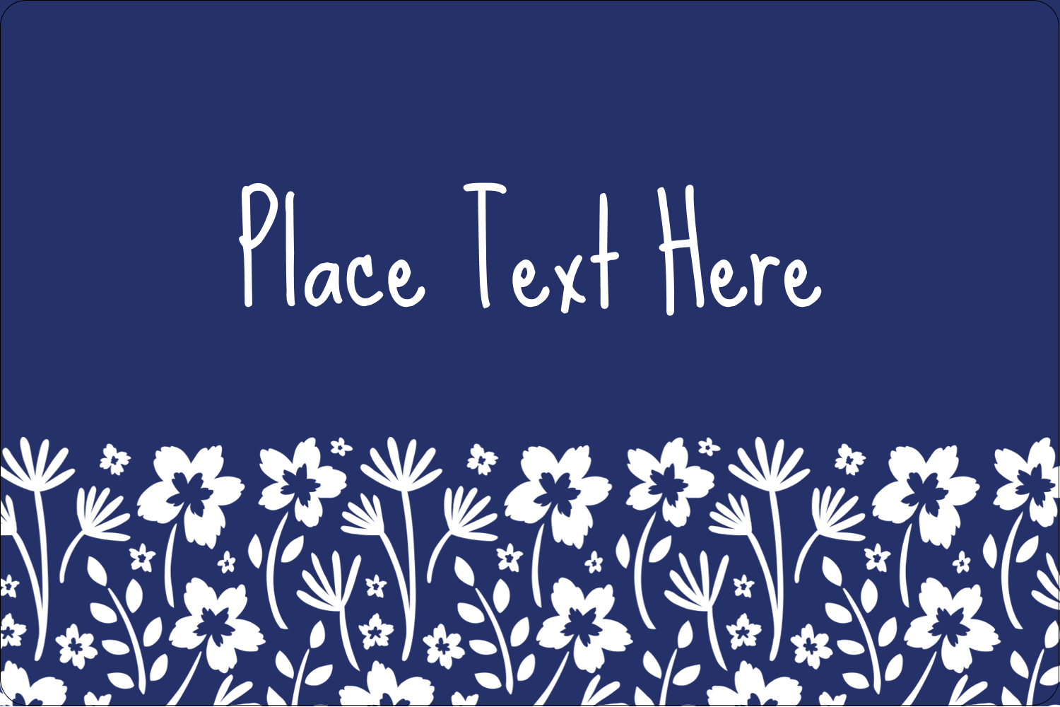 "2"" x 3"" Rectangular Label - Small Floral Blue"