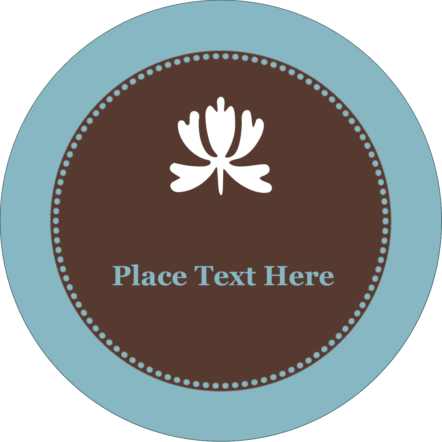 "2"" Embossed Round Label - Blue Brown Border"
