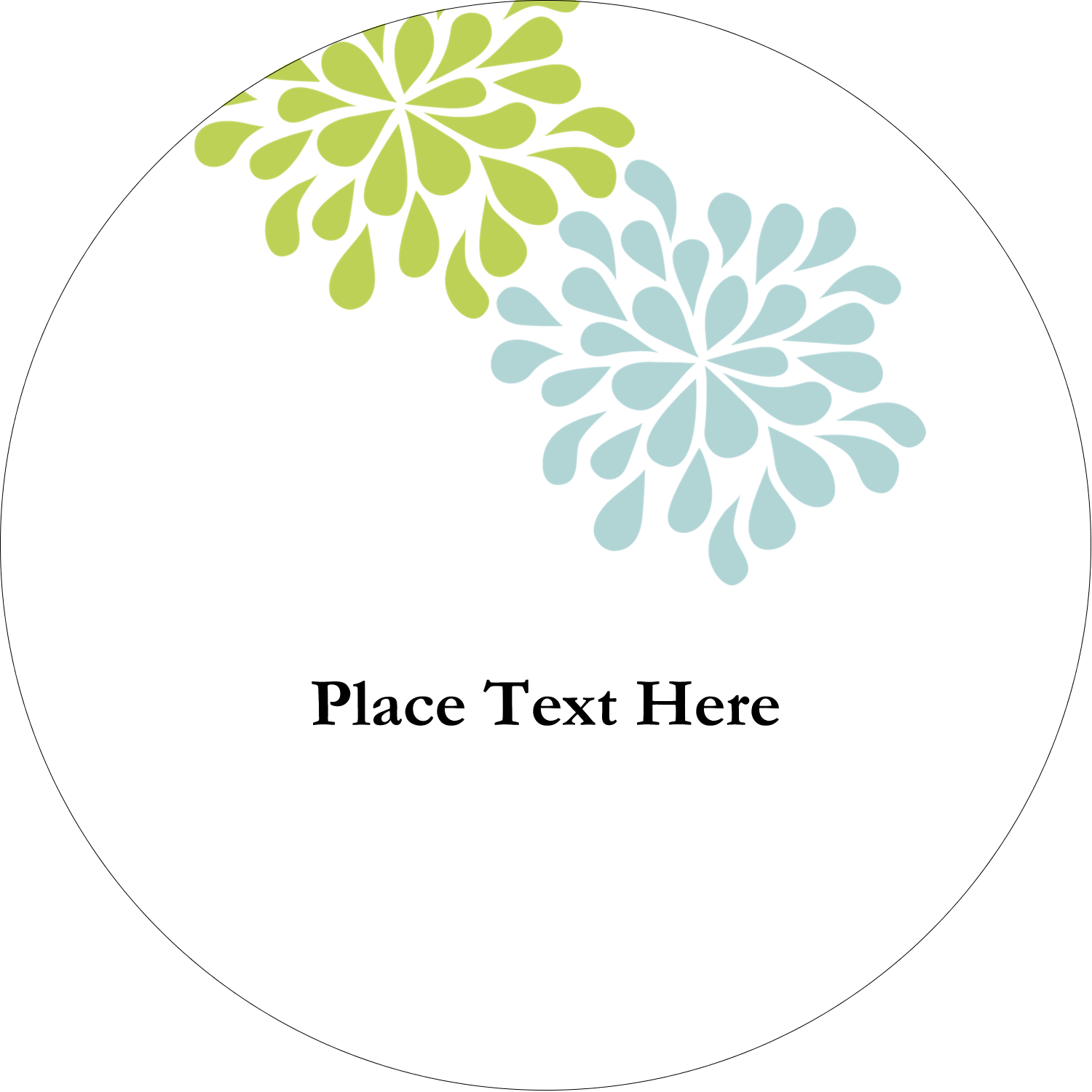 """2"""" Embossed Round Label - Blue Green Blooms"""
