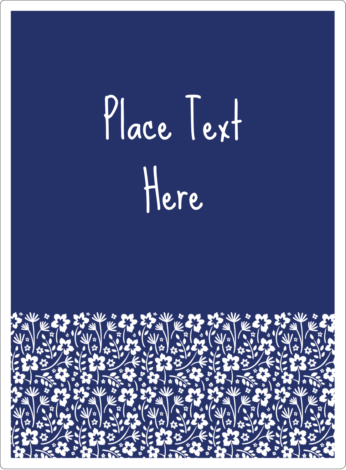 "4¾"" x 3½"" Rectangular Label - Small Floral Blue"