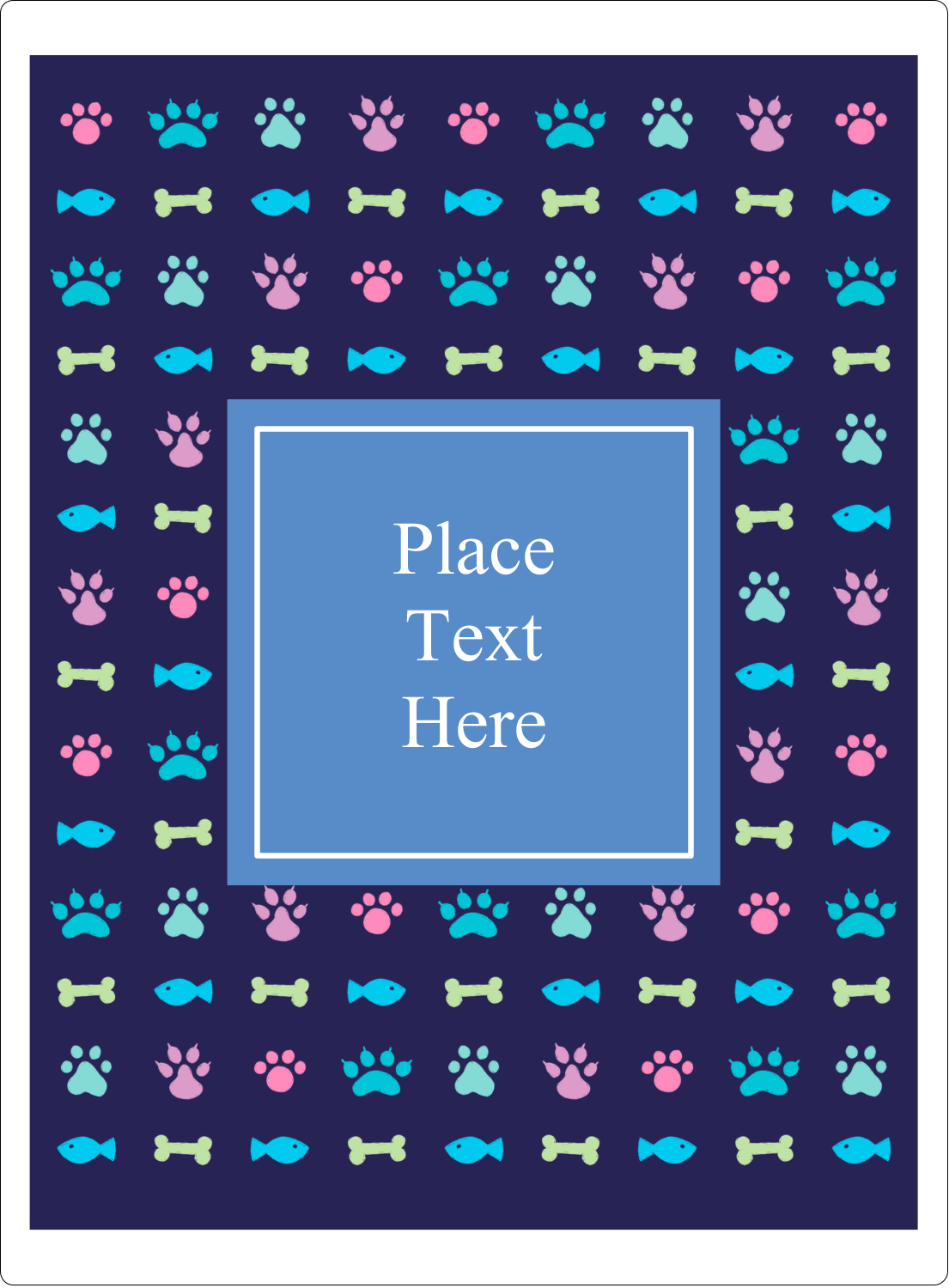 "4¾"" x 3½"" Rectangular Label - Furry Friends"