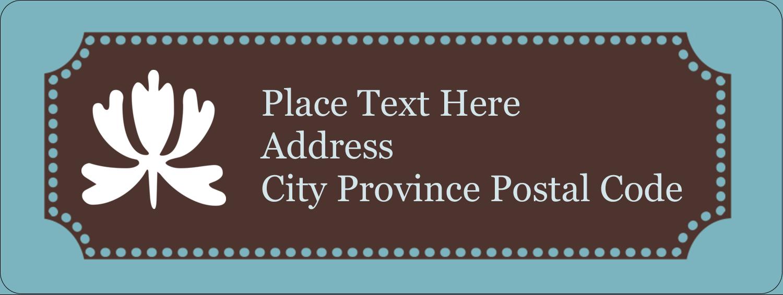 "⅔"" x 1¾"" Address Label - Blue Brown Border"