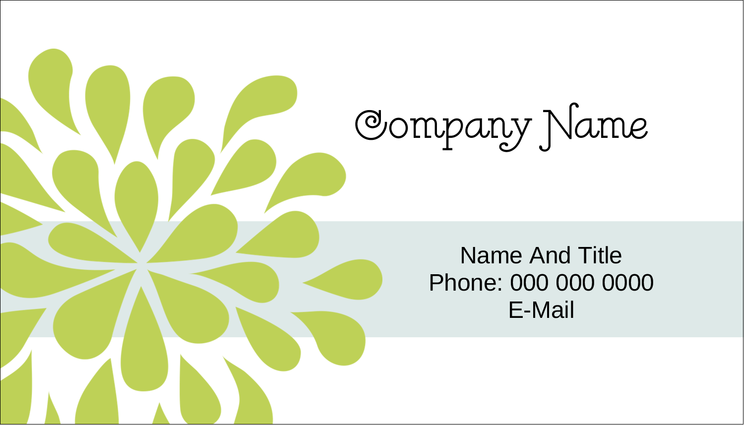 "2"" x 3½"" Business Card - Blue Green Blooms"