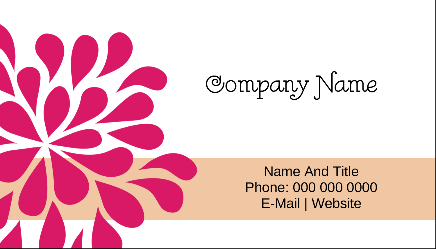 "2"" x 3½"" Business Card - Bridal Shower Pink Orange"