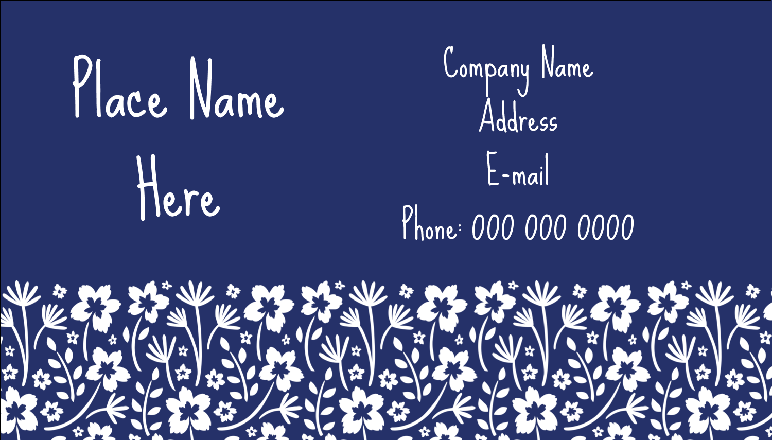 "2"" x 3½"" Business Card - Small Floral Blue"