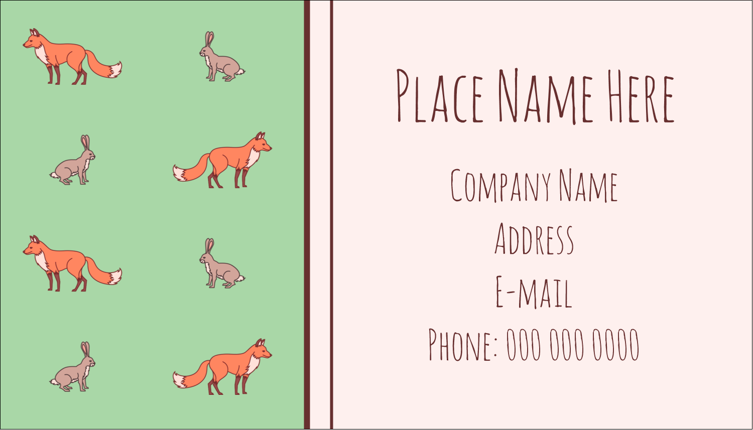 Conversational Fox Hare Predesigned Label And Card Template For Your