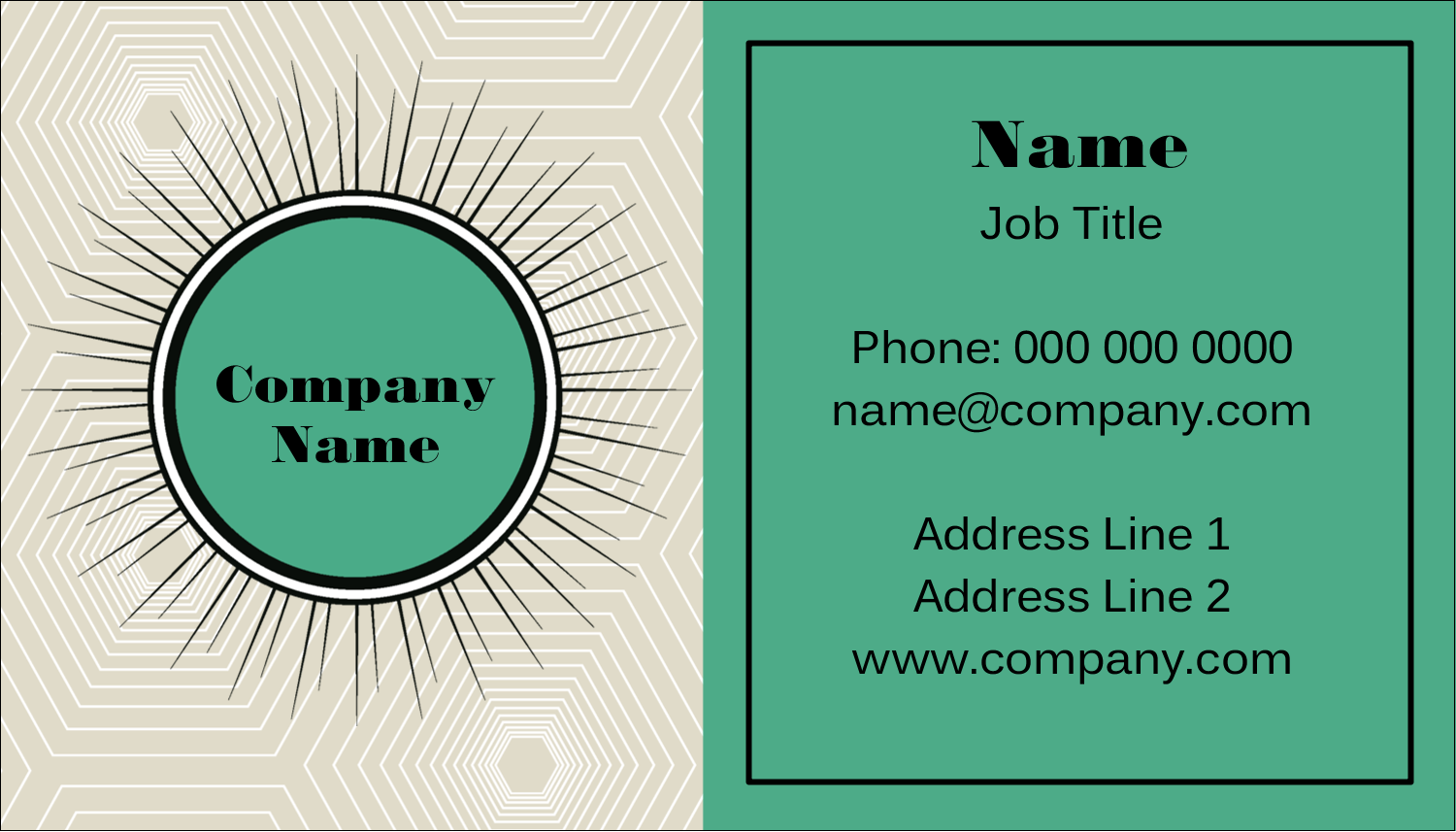 "2"" x 3½"" Business Card - Burst Green"