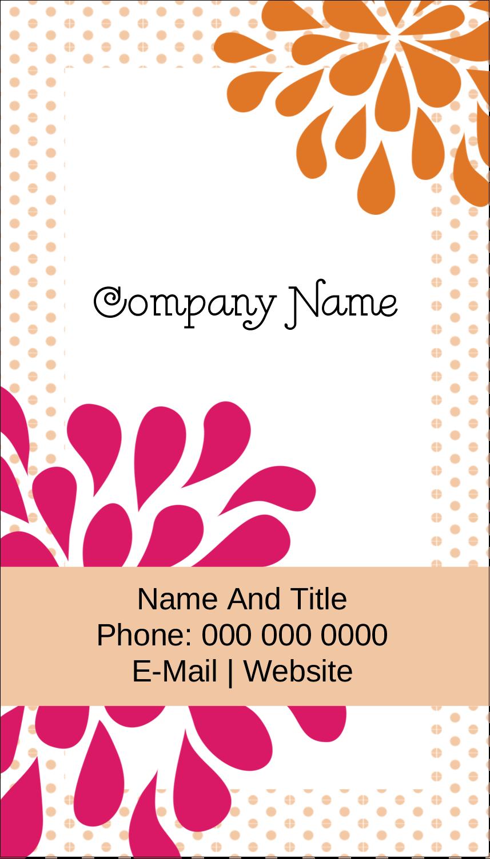 """3½"""" x 2"""" Business Card - Bridal Shower Pink Orange"""