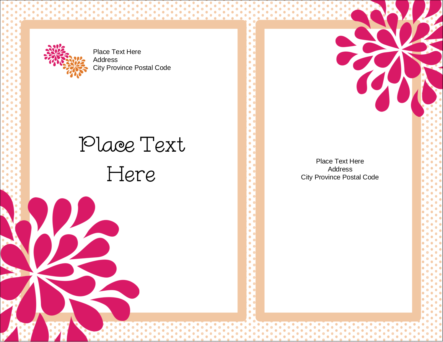 "4¼"" x 5½"" Postcard - Bridal Shower Pink Orange"