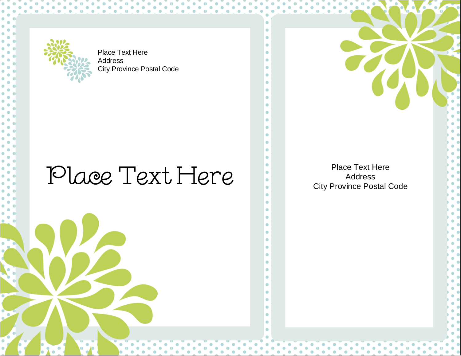 "4¼"" x 5½"" Postcard - Blue Green Blooms"