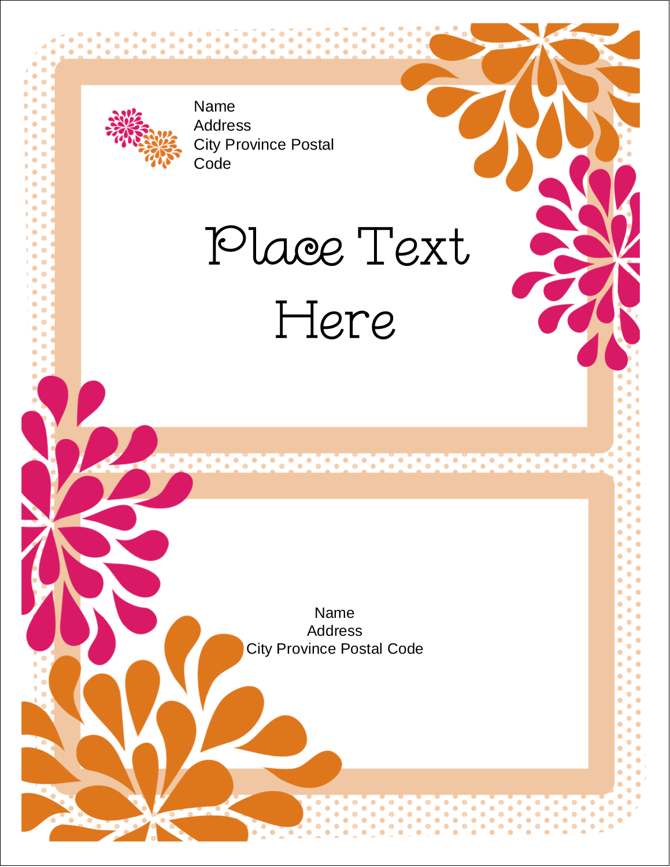 "4¼"" x 5½"" Postcard - Bridal Shower Pink Orange"