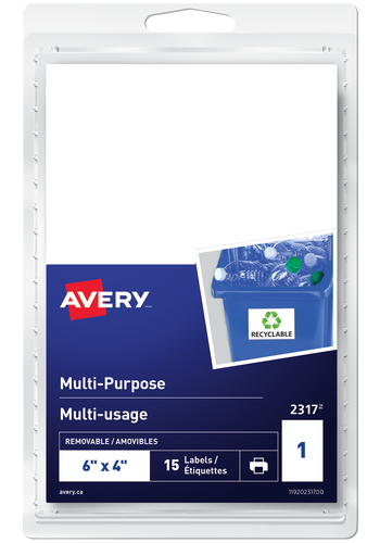 Avery<sup>®</sup> Étiquettes Multi-usage Amovibles - Avery<sup>®</sup> Étiquettes Multi-usage  Amovibles