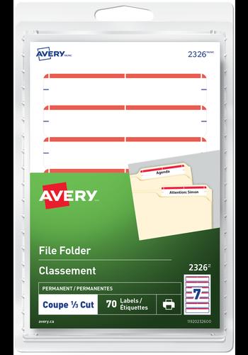 Avery<sup>®</sup> Étiquettes de classement pour imprimantes à laser ou jet d'encre - Avery<sup>®</sup> Étiquettes de classement