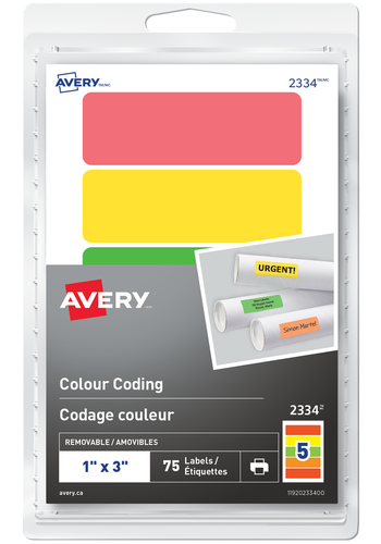 Avery<sup>&reg;</sup> Removable Rectangular Colour Coding Labels or Handwrite - Avery<sup>&reg;</sup> Removable Rectangular Colour Coding Labels