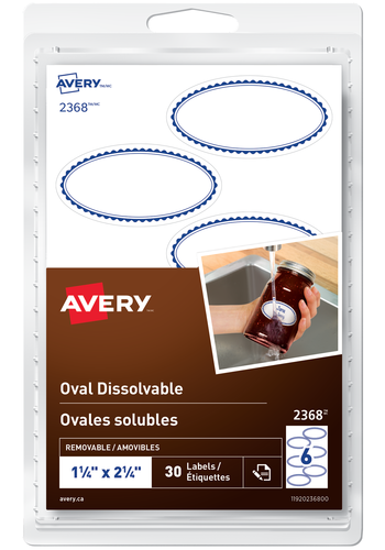 Avery<sup>&reg;</sup> Dissolvable Oval Labels - Avery<sup>&reg;</sup> Dissolvable Oval Labels