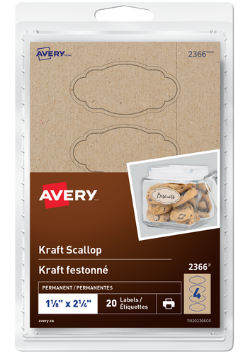 Avery<sup>®</sup> Kraft Scallop Labels - Avery<sup>®</sup> Kraft Scallop Labels