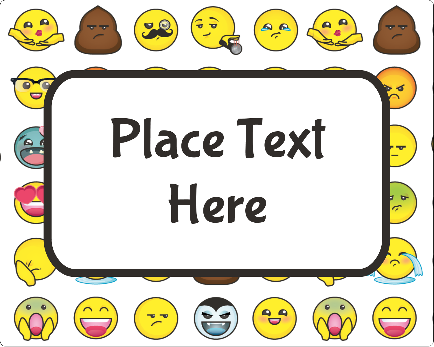 "3"" x 3¾"" Rectangular Label - Emoji Faces"