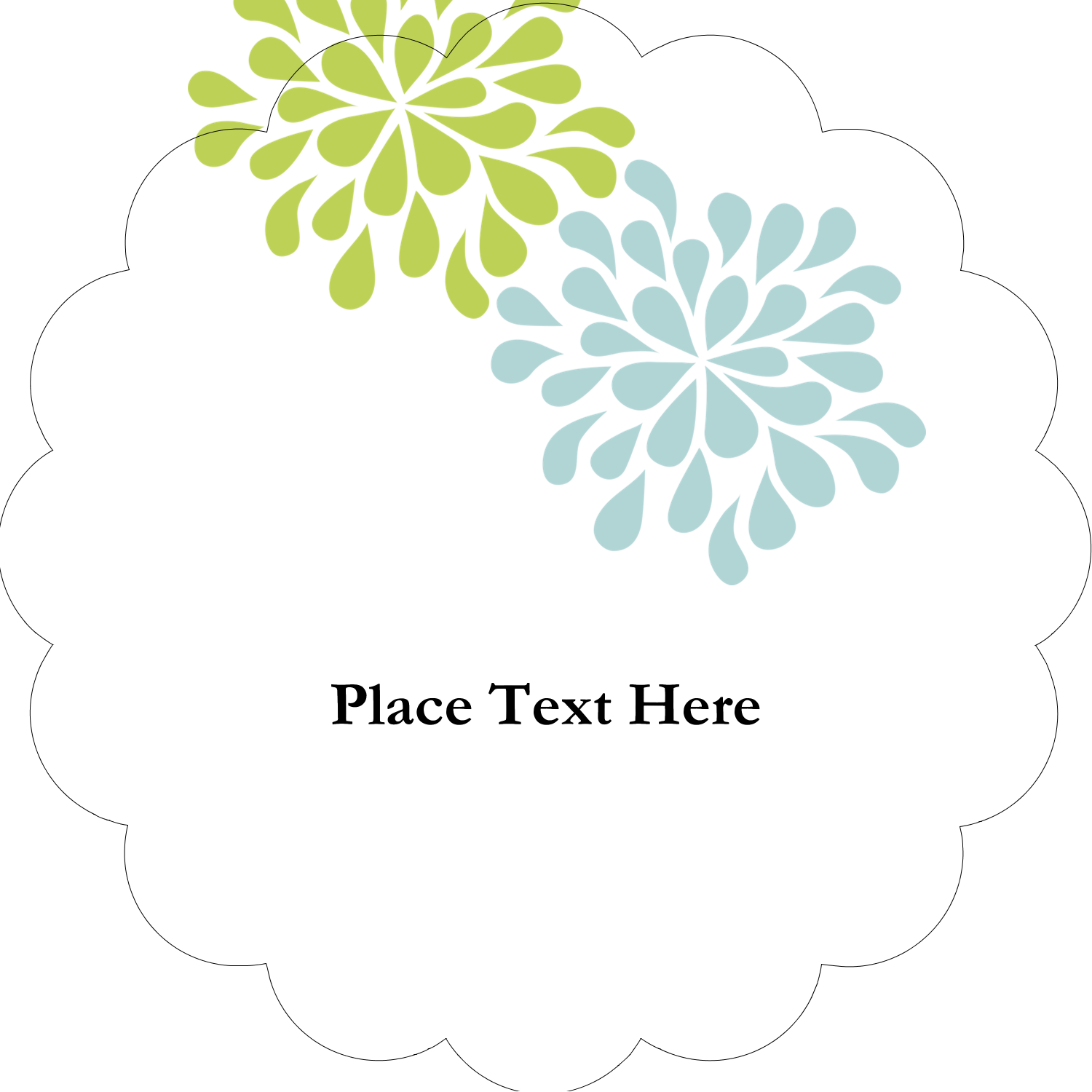 """2"""" Scallop Oval Label - Blue Green Blooms"""