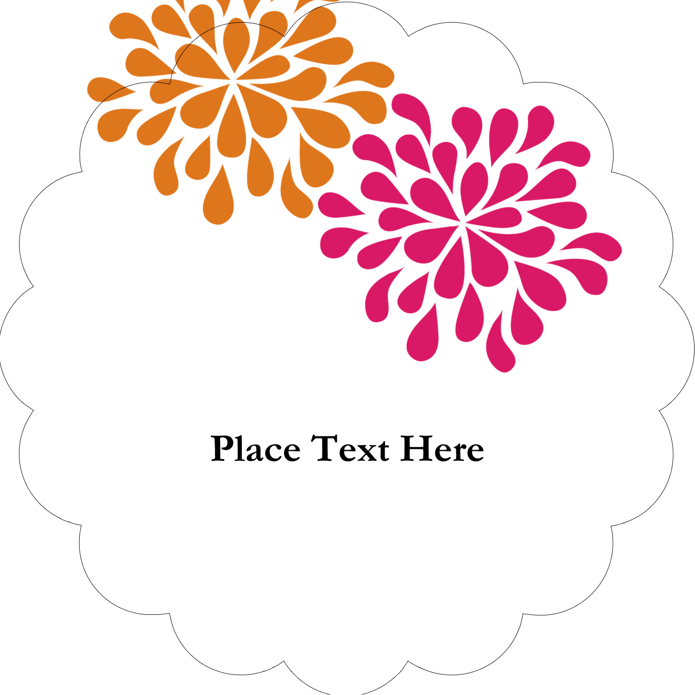 """2"""" Scallop Oval Label - Bridal Shower Pink Orange"""