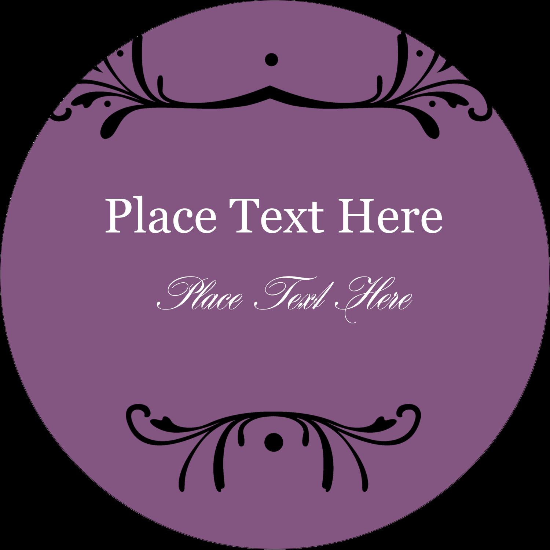 "2½"" Round Label - Filigree Purple"
