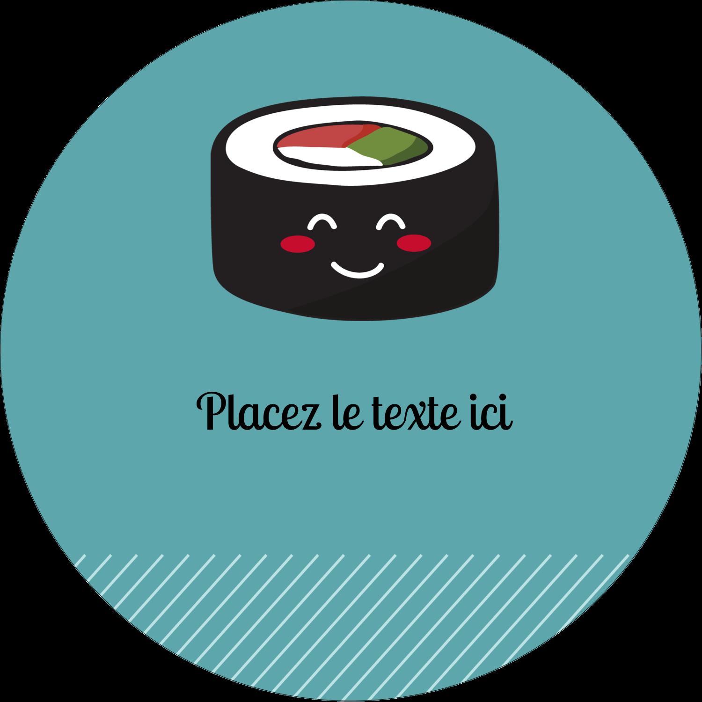 """3-7/16"""" x 15/16"""" Étiquettes de classement - Émoticônes de sushis"""