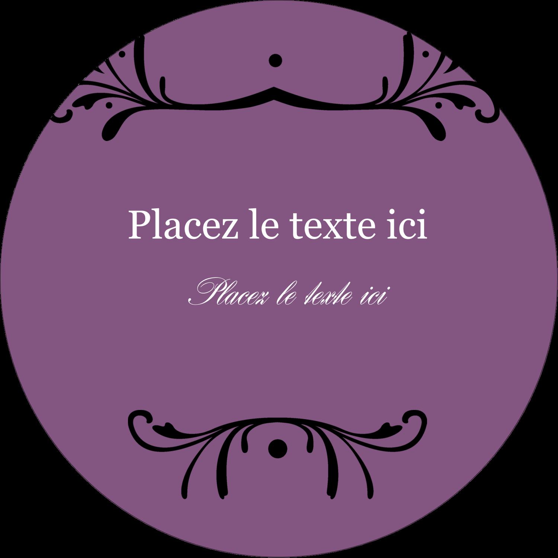 """3"""" x 2¼"""" Étiquettes arrondies - Filigrane violet"""