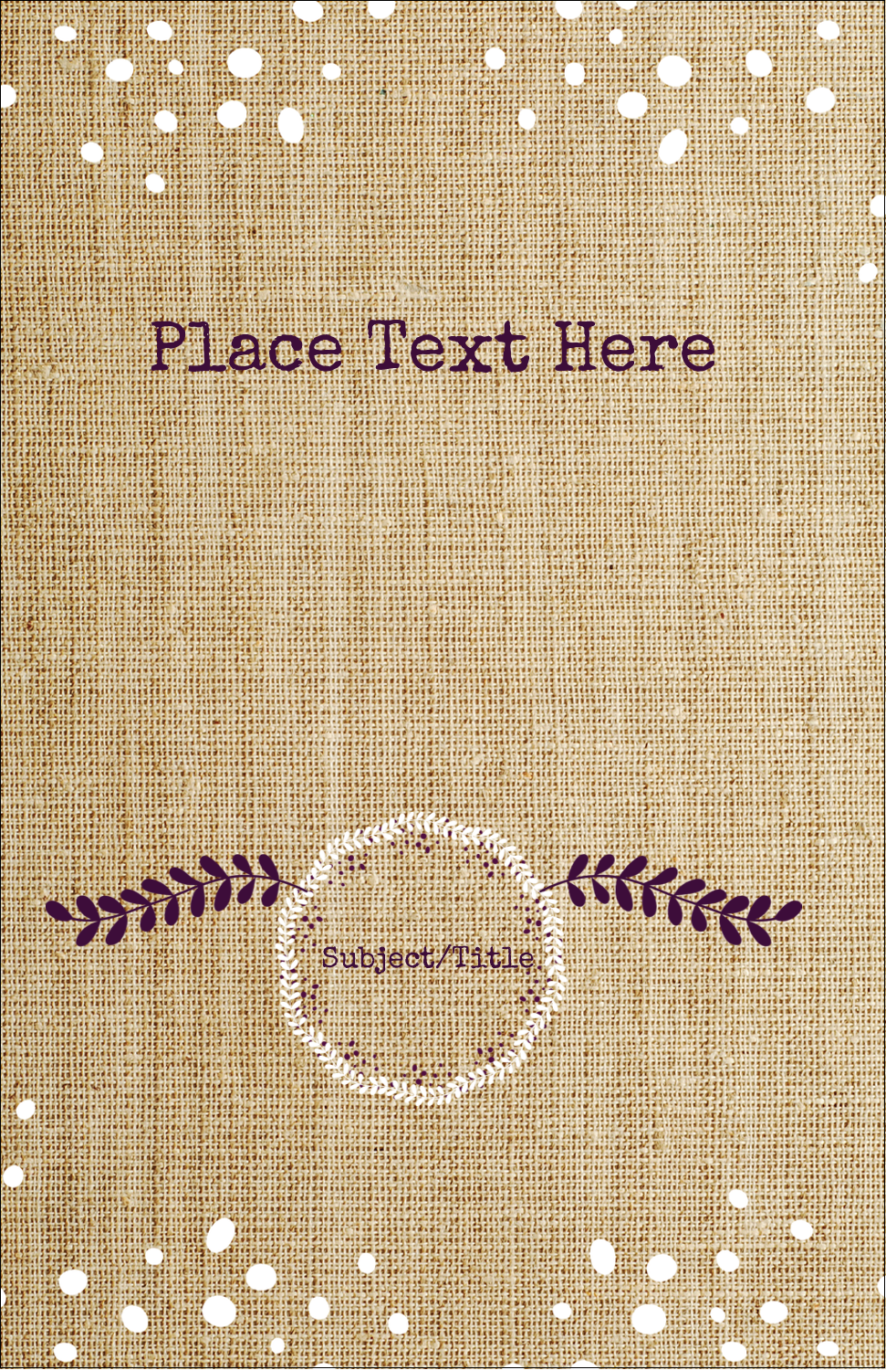 "8½"" Binder Insert x 5½"" Mini Binder - Fringed Burlap"