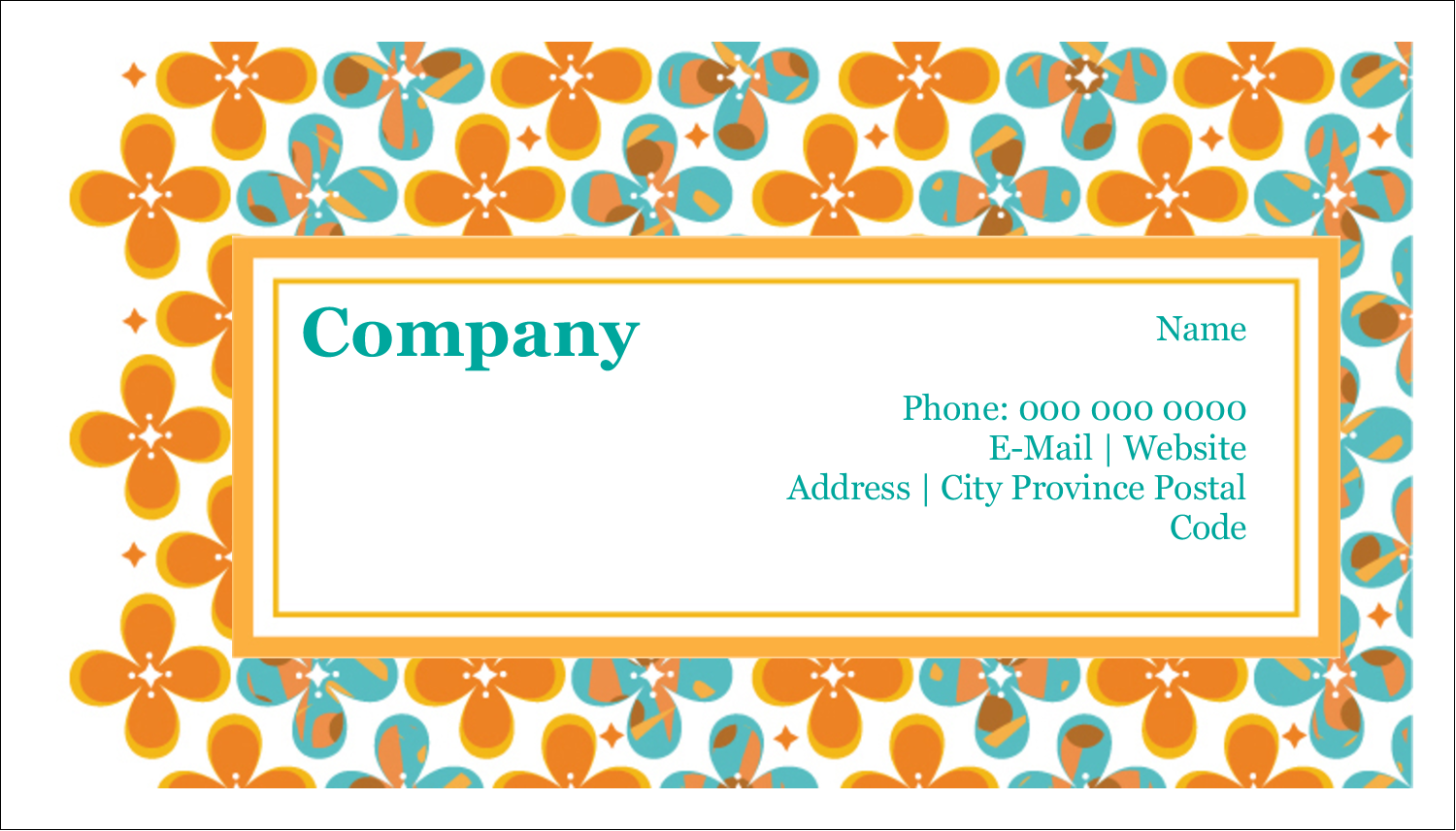 """2"""" x 3½"""" Business Card - Floral Pattern"""