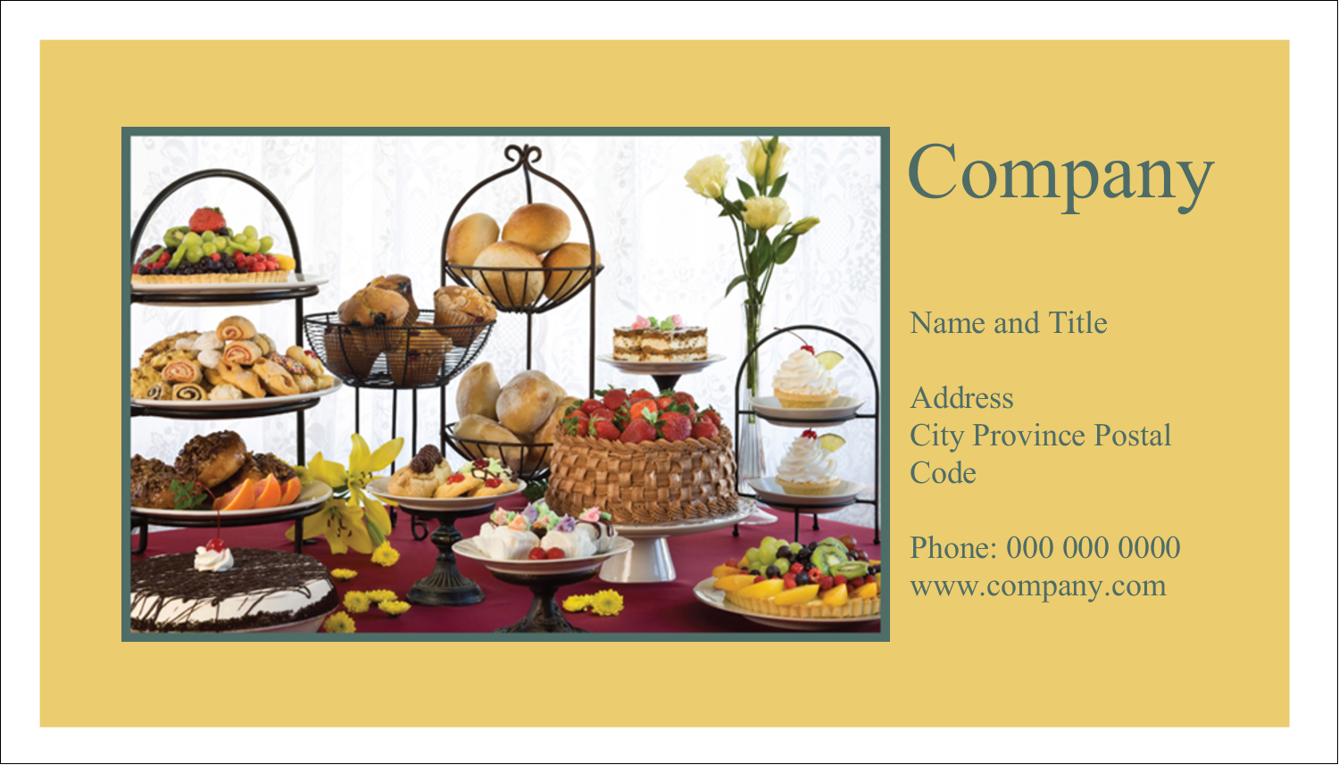 """2"""" x 3½"""" Business Card - Desserts and Breads"""