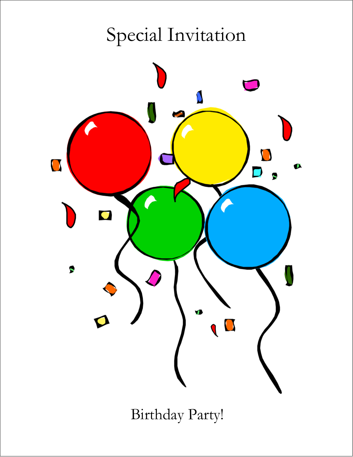 """5½"""" x 8½"""" Greeting Card - Four Balloons"""