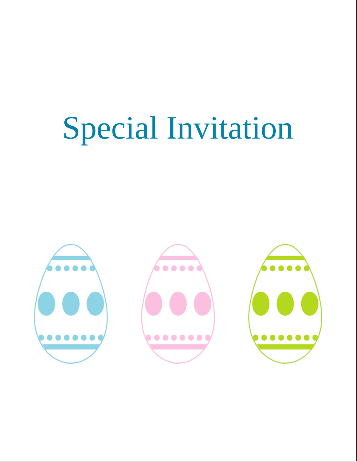 "5½"" x 8½"" Greeting Card - Easter Egg Trio"