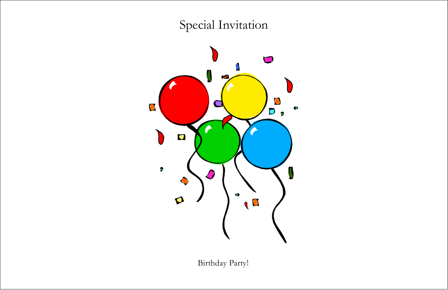 "5½"" x 8½"" Greeting Card - Four Balloons"