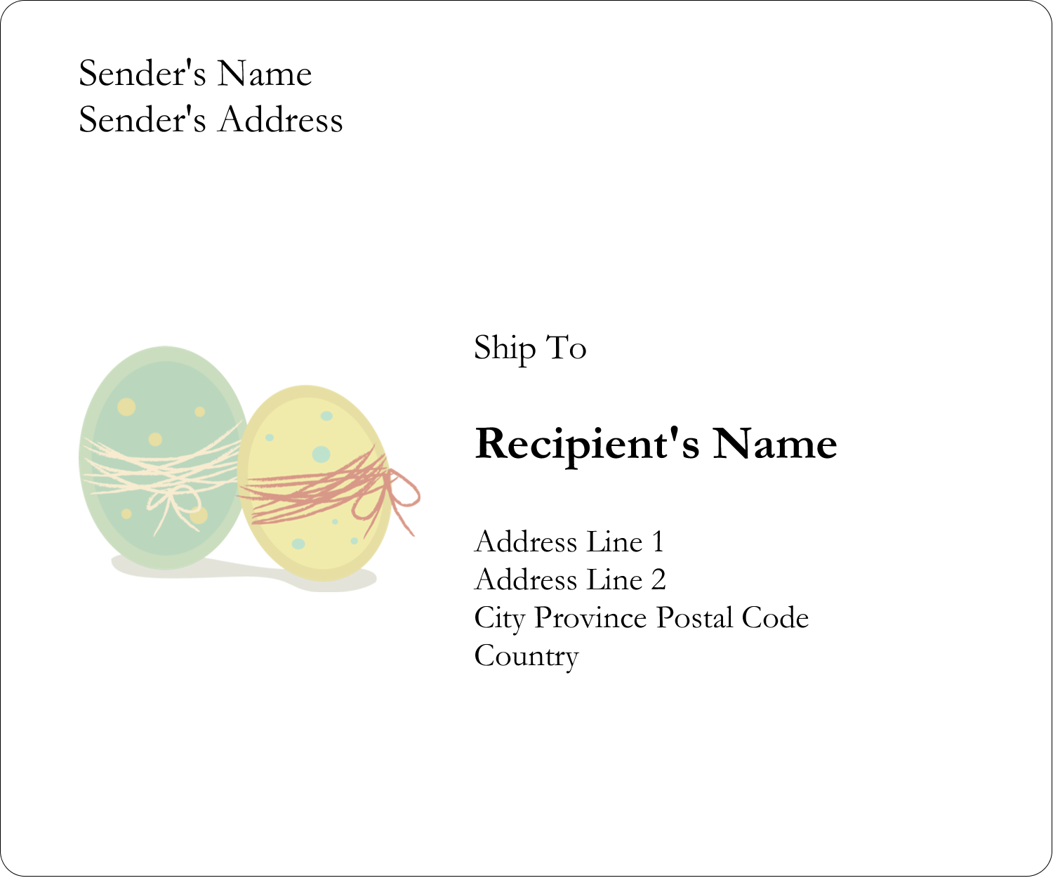 "3⅓"" x 4"" Shipping Label - Paired Eggs"