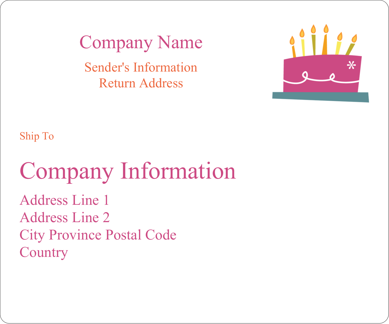 "3⅓"" x 4"" Shipping Label - Birthday Party"