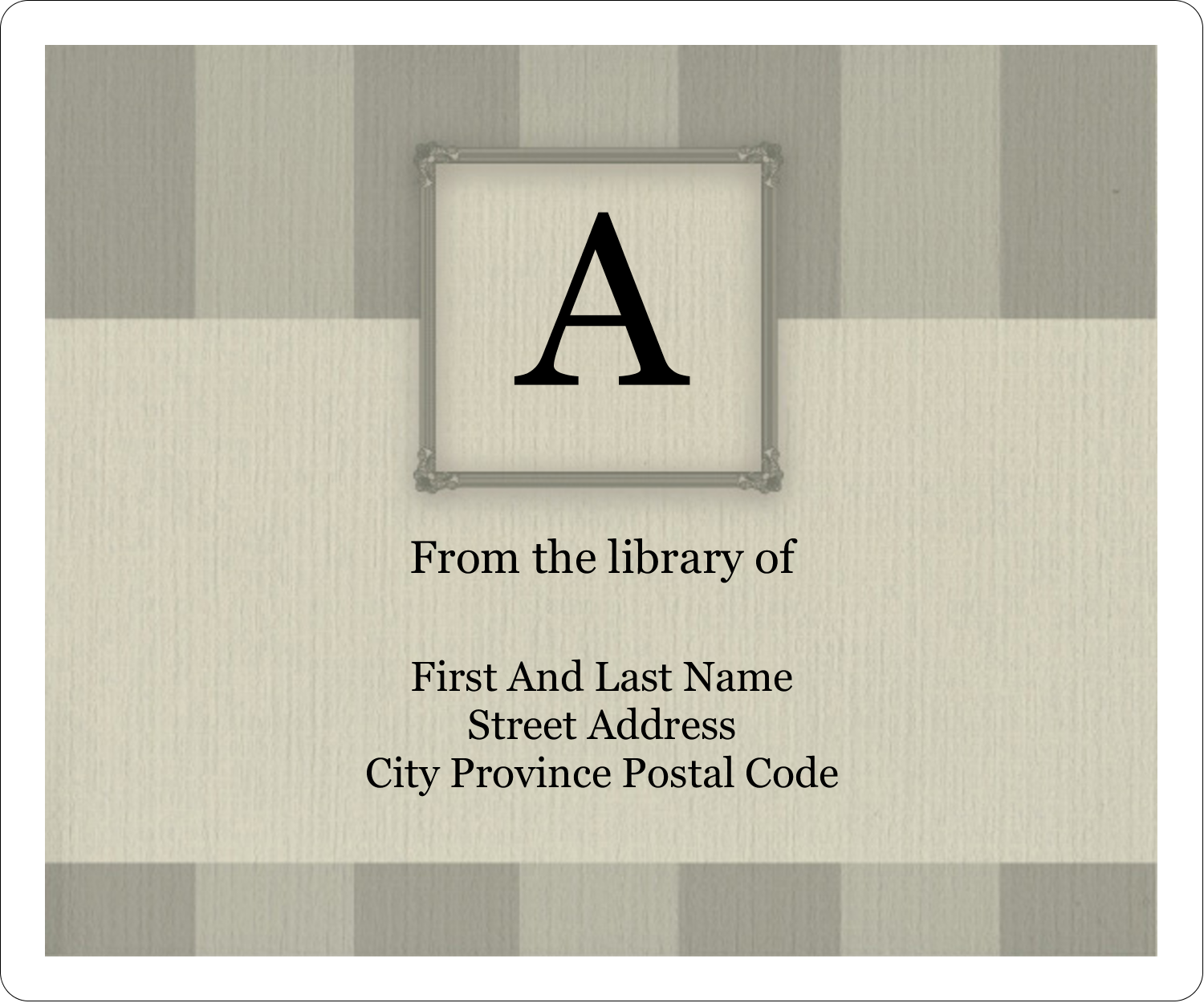 """3⅓"""" x 4"""" Shipping Label - Bookplate Initial"""
