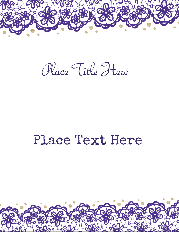 "8½"" x 11"" Sticker Project Paper - Purple Lace Wedding"